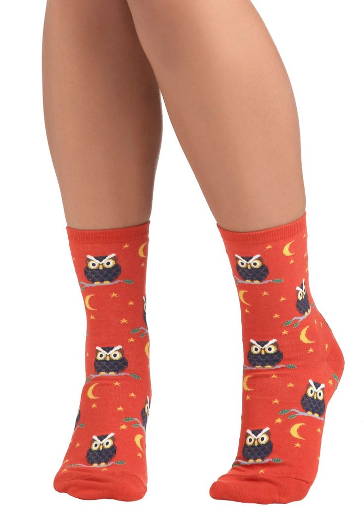 Owl-Inclusive Socks - Multi, Print with Animals, Owls, Knitted, Halloween, Quirky, Critters, Woodland Creature