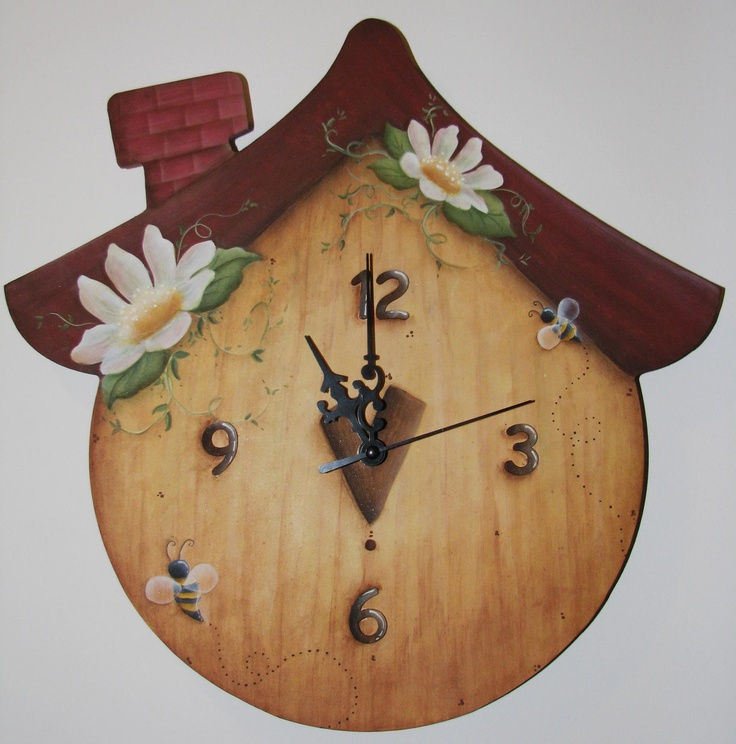 littlehats & Co: orologio casetta dipinto in country painting