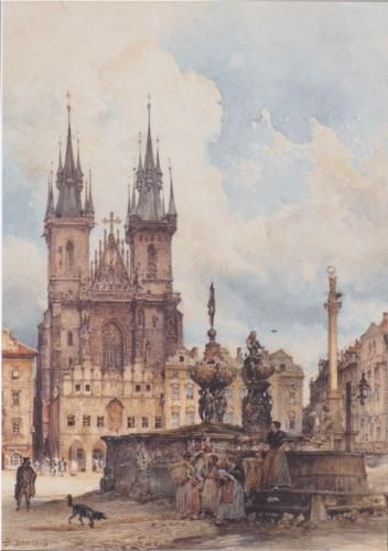 Rudolf von Alt — View of the Old Town Square with the Church in Prague They (1843)