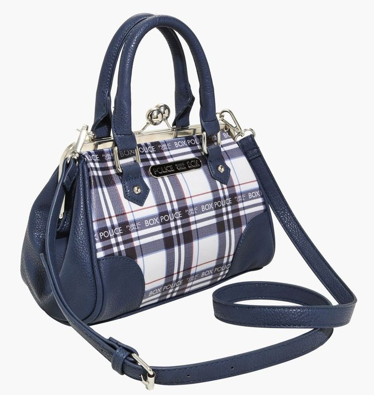 """This might just be the best way we've ever seen to carry your Sonic Screwdriver! The navy faux leather bag from Doctor Who has panels of tartan plaid that features """"Police Public Call Box"""" text design mixed in and a black and silver plaque stamped with the same text. 