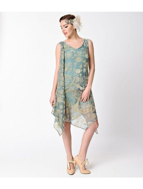 1920s Style Mint & Gold Burnout Velvet Flapper Dress