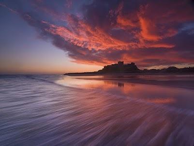 Photo by Antony Spencer, Bamburgh Castle at dawn (Google+ feed)