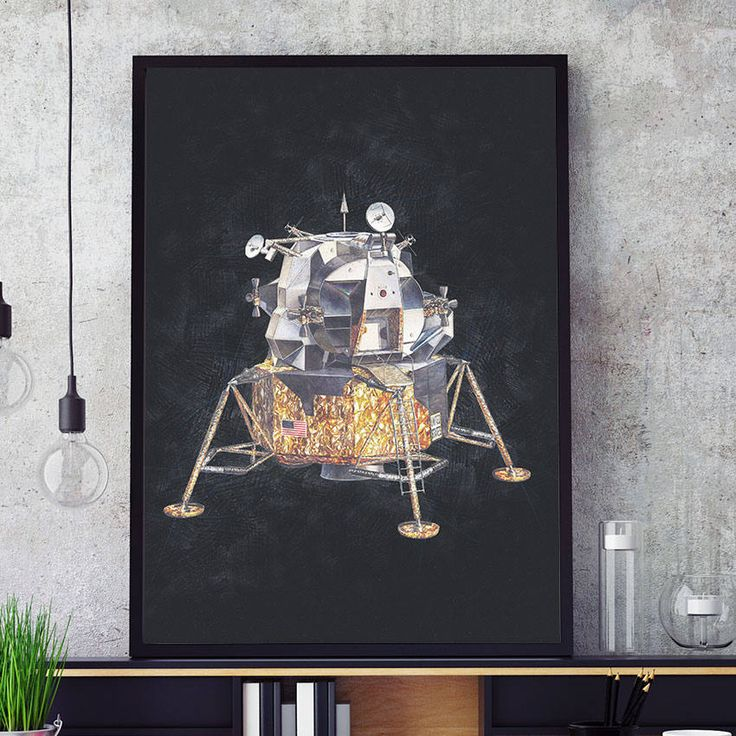NASA Poster, Apollo Lunar Module Print, Space Age Kids Room Decor, Poster, Nursery Wall Art Lunar Prints, Nasa Glicee (N307) by PointDot on Etsy