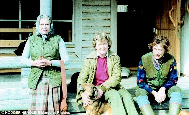 Margaret is seen centre with the Queen, left, and lady-in-waiting Susan Hussey at Balmoral...
