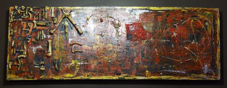 """Firewalk 2008-2009 72"""" x 24"""" Acrylique, gouache, os, corde, jute, colle clous, vices et médium phosphorescent sur toile Acrylic, gouache, bones, rope, burlap, glue, nails, screws and glow-in-the-dark medium on canvas"""