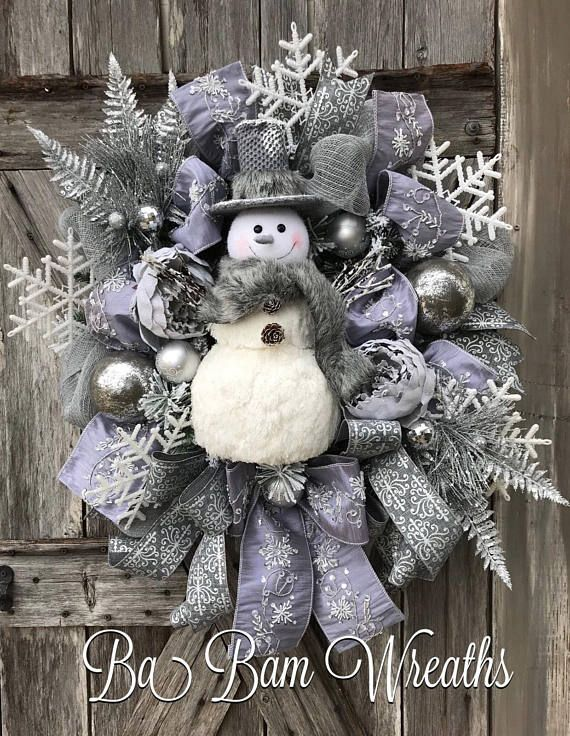 Burlap Christmas Wreath, Snowman Swag, Snowman Wreath, Christmas Wreath, Christmas Swag, Christmas Door Hanging, Holiday Wreath, Holiday Swag, Winter Wreath, Winter Swag Grey Snowflakes and Snowmen~ O My! Now make your door/entry/mantel dazzling with this gorgeous wreath! Made with