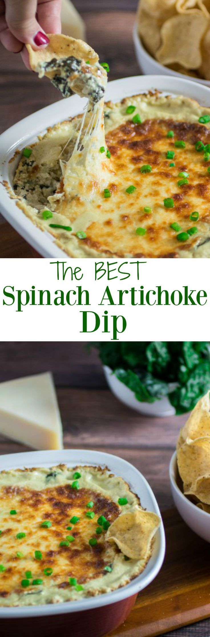 Click this pin to get the recipe, or repin to save for later! Cheesy, rich, and comfortingly creamy, it doesn't get much better than this classic Spinach Artichoke Dip. Topped with mozzarella cheese and baked to perfection, this dip recipe can be served with tortilla chips or a toasted baguette.