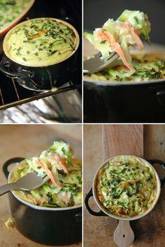 courgettes au saumon fumé (4 oeufs 50 g de farine 2 cas d huile 4 belles courgettes 6/8 tranches de saumon fumé 50 cl de lait ciboulettes et 45 mn au four )