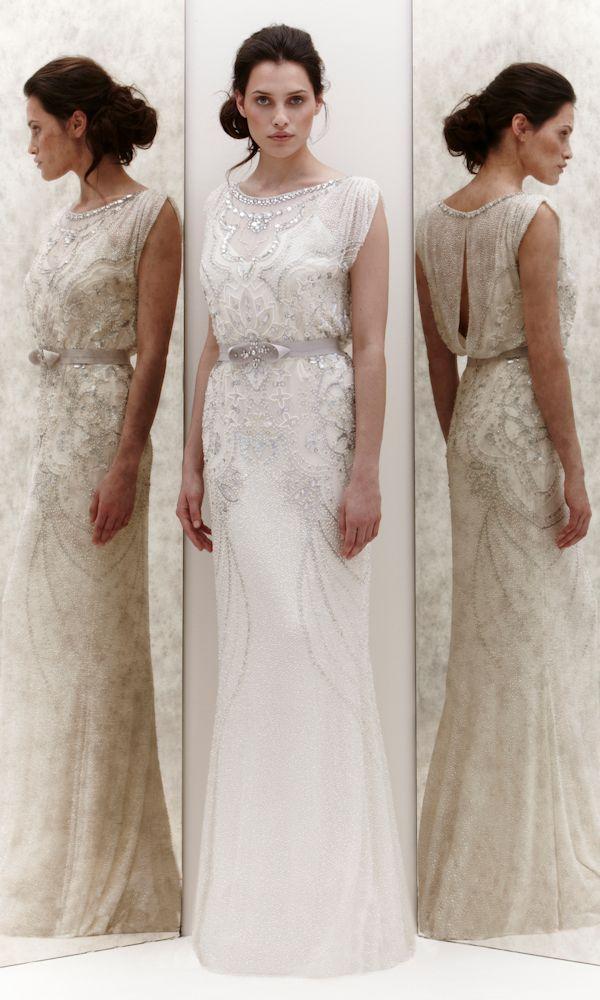 high neck beaded wedding dress