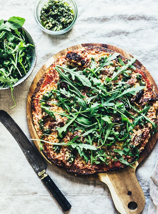 cheddar pesto rocket cauliflower pizza