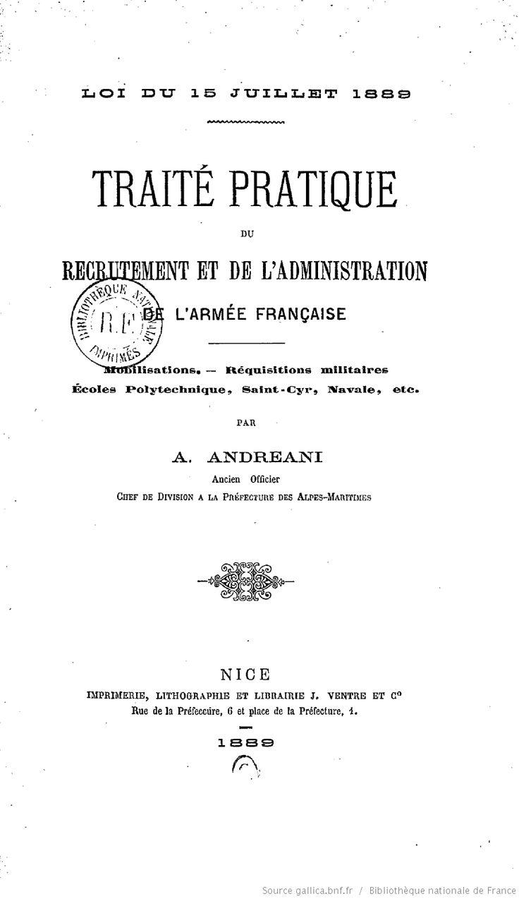 Traité pratique du recrutement et de l'administration de l'armée français