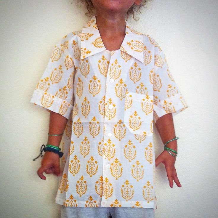 100% Cotton Indian Block Print Boy's Shirt / Birthday Gift -  White w/ Yellow