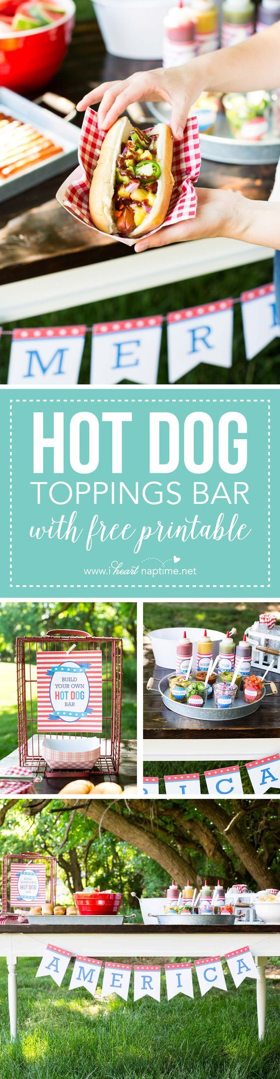 Baseball party. Hot Dog Toppings Bar for the 4th of July ...the perfect way to celebrate with friends and family.