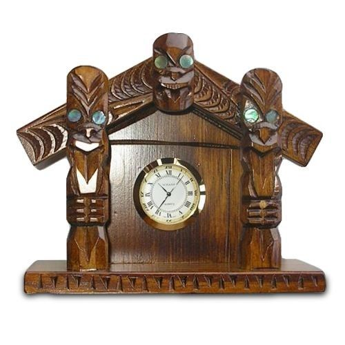 Maori Hand Carved Clock