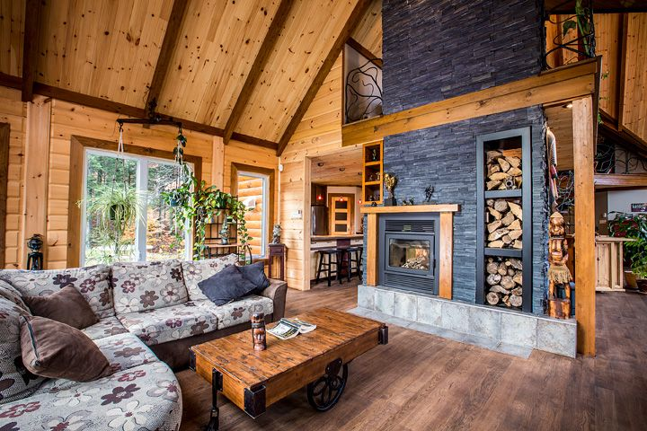 Timberblock homes wall surrounding fireplace wood storage How to stain log cabin