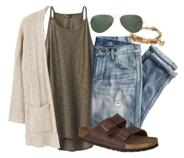 """""""School"""" by snbarr18 on Polyvore featuring prAna, J.Crew, MANGO, Birkenstock, Alex and Ani and Ray-Ban"""