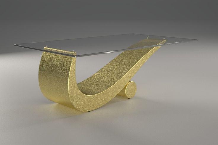 Articolo 43C-9 Tavolino da salotto FlexFinitura: oro.Misure: cm 110 x 65 - Altezza: cm 42 - Peso: Kg. 52Vetro: rettangolare - temperato - extra white - filo lucido - spessore 1 cm