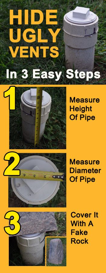 Quick rundown on how to hide those UGLY septic vent pipes using fake rocks. Here in the midwest these ugly pipes are everywhere. It's not wise to cut them off at grade so using fake rocks is a fast and easy fix without any worries of breaking building codes etc in most areas.  Just be sure if it's a vent pipe that the fake rocks are also vented to allow for air flow.