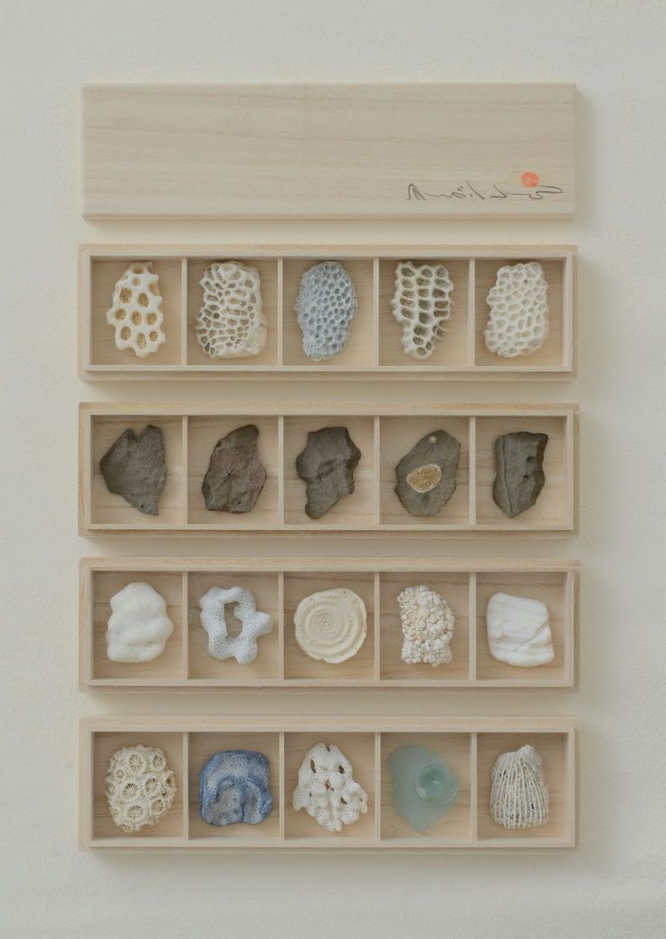 Chopstick Rests. Coral,shell,stone and beach glass. Paulownia wood box. September 2014.