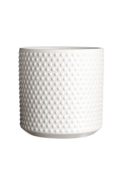 Grand pot en grès à motif texturé. Hauteur 12,5 cm, diamètre 12,5 cm.