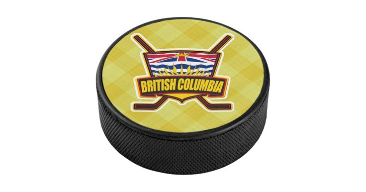 Regulation size British Columbia province flag #hockey #puck with full color printed design, great for display or autographs!  Many more designs available. #IceHockey  #BritishColumbia