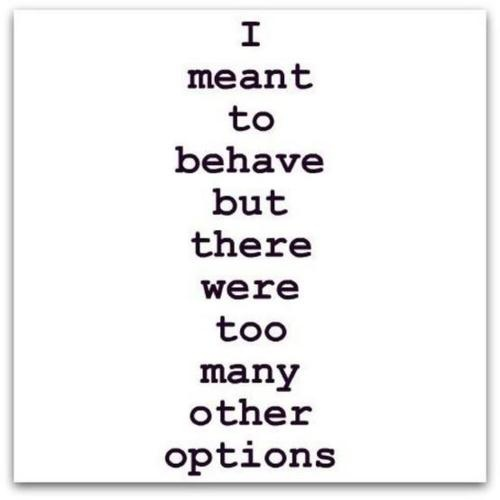 I meant to behave but...Life Motto, Laugh, Funny Quotes, Funny Stuff, Humor, Things, True Stories, Options, Behaved