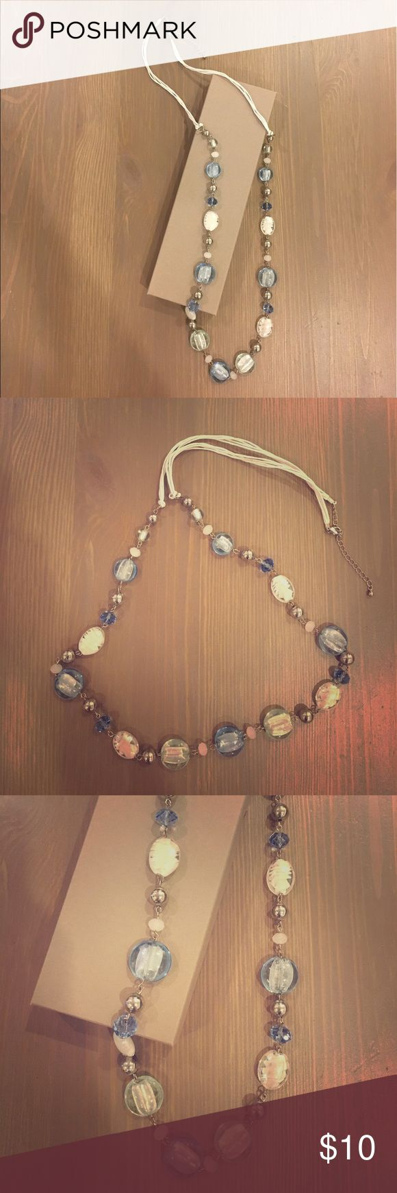"""NWOT Accessorize blue and white necklace Beautiful necklace with blue and white crystal and glass beads and metal beads. 37"""" with 3"""" extender. Accessorize Jewelry Necklaces"""