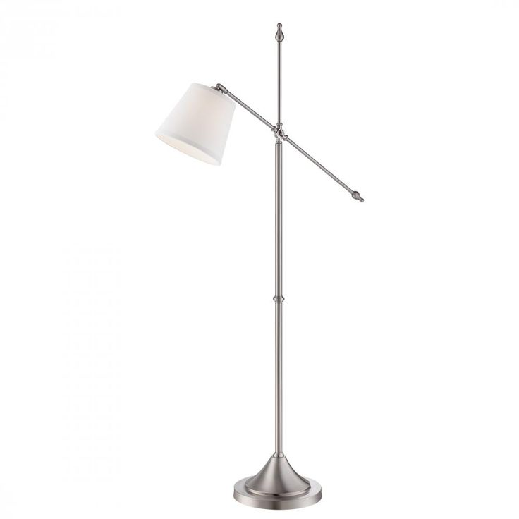 The fact that this brushed nickel floor lamp from quoizel is adjustable plus the on off foot switch on cord make it super convenient the perfect reading