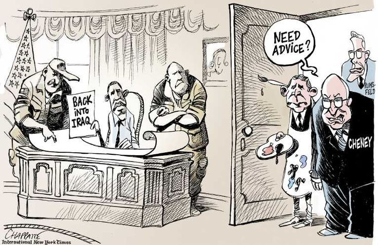 A cartoon with the argument that the US should not re-involve itself in Iraq