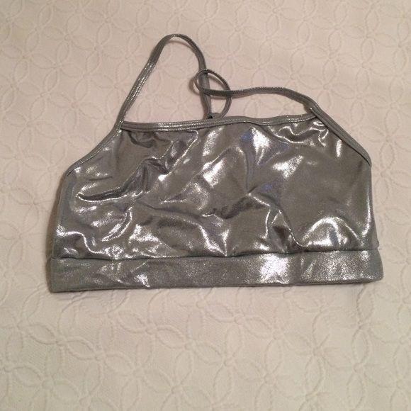 Silver Sports Bra Silver racerback sports bra. Small lipstick stain on the inside of the bra (seen in last picture) Balera Intimates & Sleepwear Bras