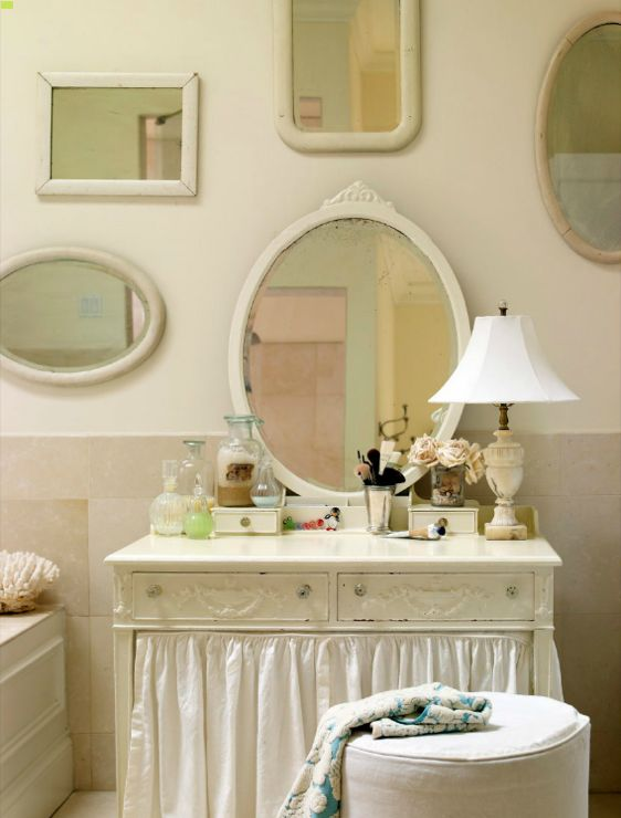 Suzie: Laura Moss Photography - Shabby chic bathroom with skirted vintage vanity, white ...
