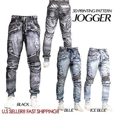 3D Denim Jean Pantalón Deportivo para Hombre Elástico con Cintura y entrepierna baja de sarga Pantalones de sudor pantalones | Ropa, calzado y accesorios, Ropa para hombre, Pantalones | eBay!