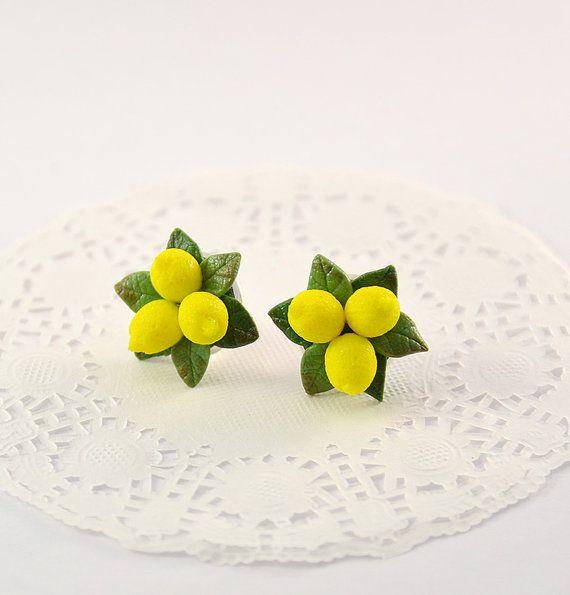 Lemon Stud Earrings or clips  Polymer clay jewelry by PommeDeNeige