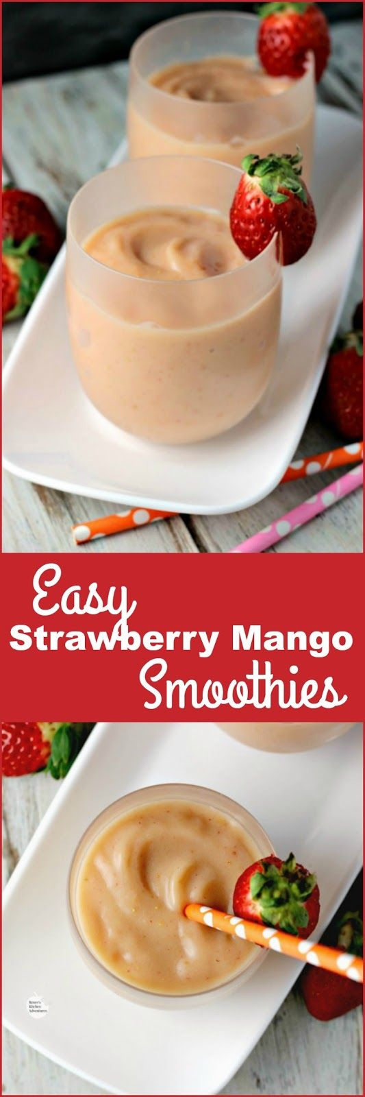 Easy Strawberry Mango Smoothies | by Renee's Kitchen Adventures - Easy recipe for a dairy-free smoothie using sweet strawberries and mangoes. Healthy snack or breakfast.