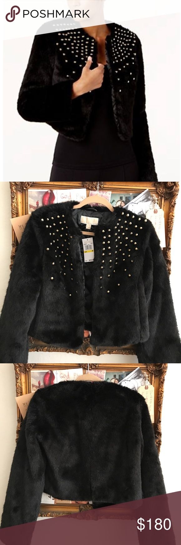 NWT MICHAEL Michael Kors Faux Fur Studded Jacket NWT MICHAEL Michael Kors Faux Fur Gold Studded Jacket in Black Medium $450 MICHAEL Michael Kors Jackets & Coats