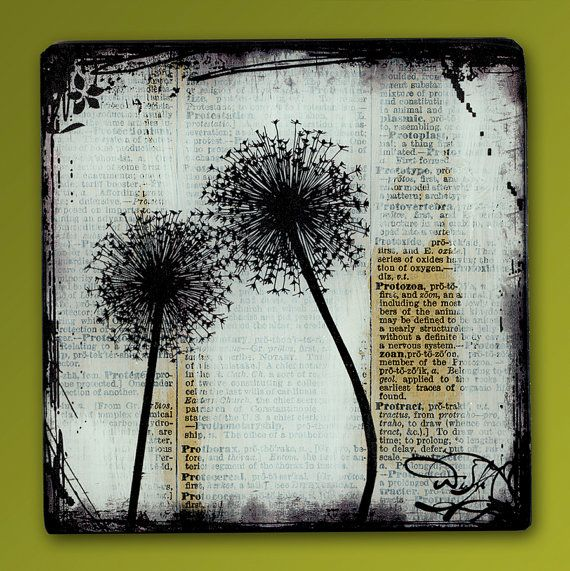 Dandelion Love Handmade Glass and Wood Wall Blox from Upcycled Dictionary page book art - WilD WorDz - Dandilion 1 of 4  Wish
