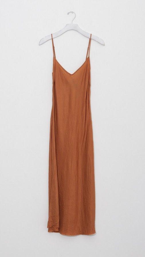 Organic by John Patrick Bias Long Slip Dress in Maple | The Dreslyn