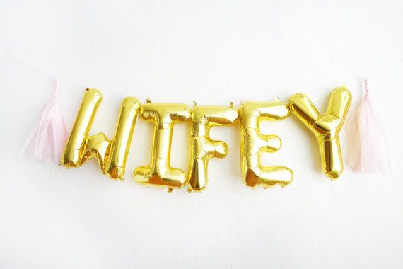 WIFEY hashtag letter balloons - gold foil mylar banner with tassels kit