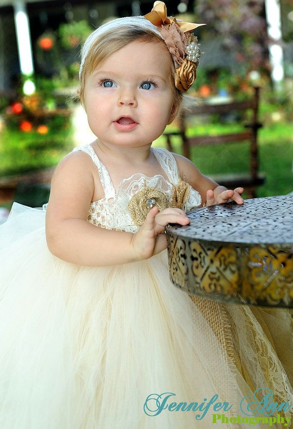 Lace and Burlap Headband Flower Girl Headband by BailynnBouNique, $22.95