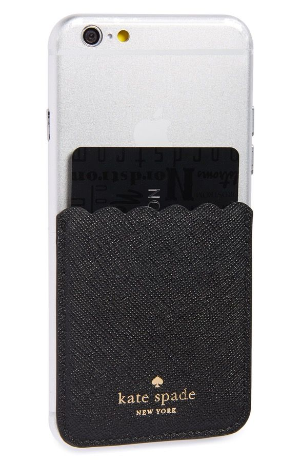 Main Image - kate spade new york scallop leather stick-on smartphone case pocket