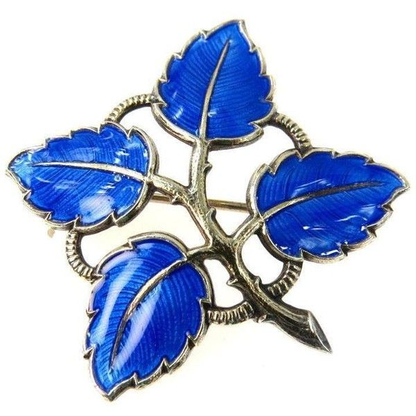 Aksel Holmsen Norway Leaf Branch Enamel Sterling Brooch Pin ($88) ❤ liked on Polyvore featuring jewelry, brooches, vintage broach, vintage jewellery, leaf brooch, enamel brooches and vintage enamel brooch