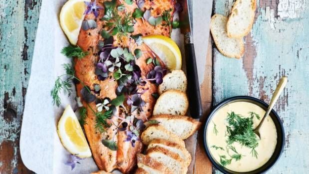 A side of salmon is an easy yet smart way to feed a crowd, and a glamorous mayonnaise makes it doubly splendid.