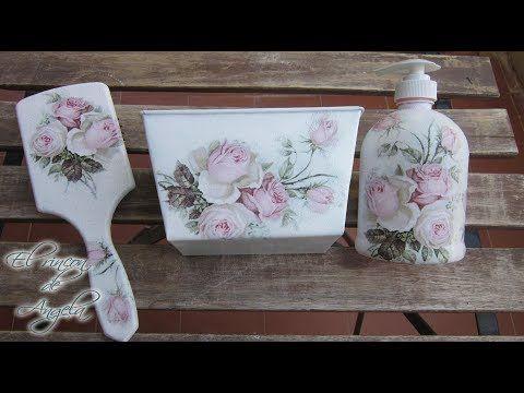 Conjunto de baño reciclado con decoupage y pintura acrílica. - YouTube