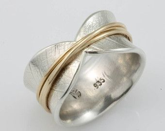 Bodhi Leaf Spinner Ring meditation ring by stonesthrowjewelry