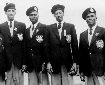 Long before we had Usain Bolt we had.... (l-r) Arthur Wint, George Rhoden, Herb McKenley and Les Laing winners of the 4x400m. Gold in Helsinki in 1952