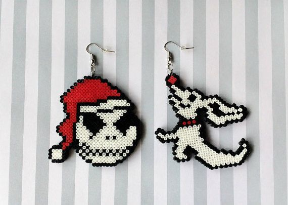Nightmare Before Christmas earrings made from Perler beads/Hama beads/mini Hama beads by: 8BitEarrings on Etsy
