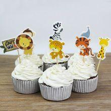 24 Stks/partij Wild Animal Party Cupcake Toppers Picks Verjaardag Decor Bruiloft Decoratie Kids Verjaardagsfeestje Levert P0(China (Mainland))