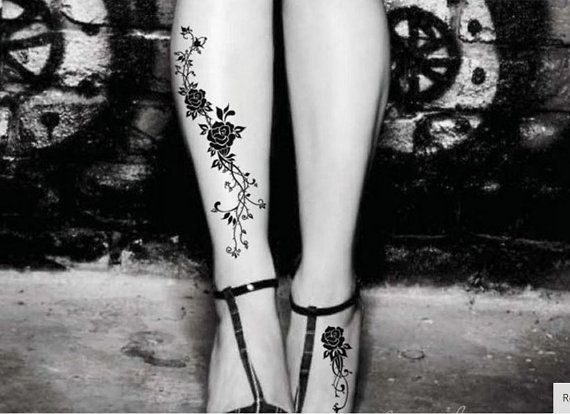 Black Rose Temporary Tattoo  Vines and Roses Floral by TattooCrush.com