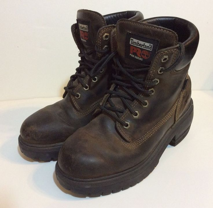 TIMBERLAND WOMEN'S PRO SERIES BROWN LEATHER BOOTS Sz. 7.5 Wide Oil Resistant #TIMBERLAND #WorkSafety #WeartoWork