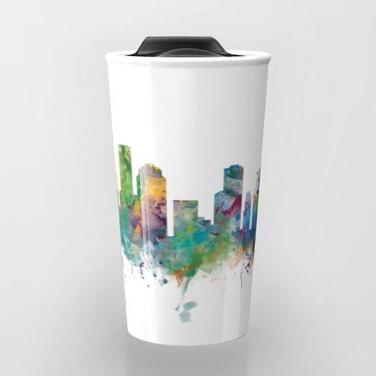 Take your coffee to go with a personalized ceramic travel mug.  Houston Skyline Travel Mug by monnprint #houston #cityskylineart #texas #houstonskyline #travelmug